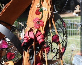 showdiva designs Asymmetrical brown Leather Bag Purse LoNg FriNgE n Hand Sculpted Flower Hand Beaded