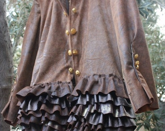 showdiva designs STUNNING Short Version of Brown Distressed Leather Military Coat  Asymmetrical Ruffles Hints of Gold