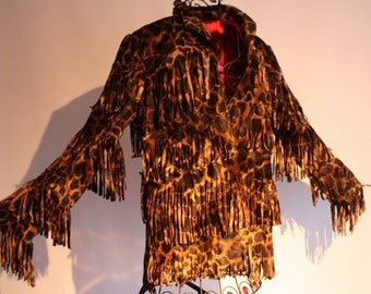 showdiva designs Ready to Ship! Faux Fur Leopard Print Jacket with Layers of Fringe n Red Satin Lining