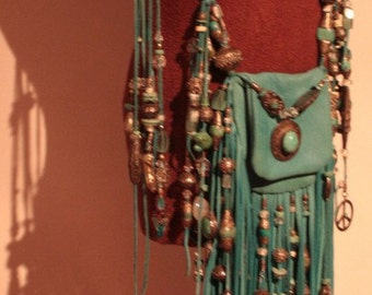 showdiva designs RoCknRoLL  Leather  Fringed Bag Purse Belt with Silver n Turquoise Beads
