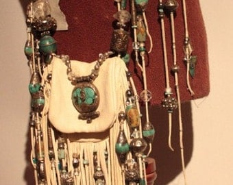 showdiva designs RoCk n RoLL Leather Medicine Bag Purse Belt Fringe with Silver n Turquoise Beading