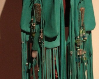 Special Order showdiva designs Turquoise Leather Saddlebag Purse with Beaded Fringe to the FLooR