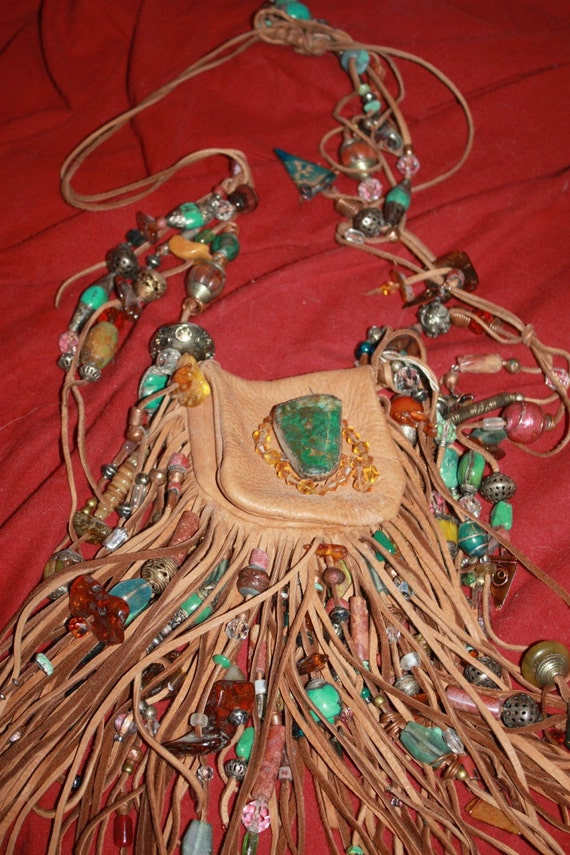 showdiva designs Medicine Bag Belt Necklace Turquiose and STERLING n TONS Fringe n Beads Galore