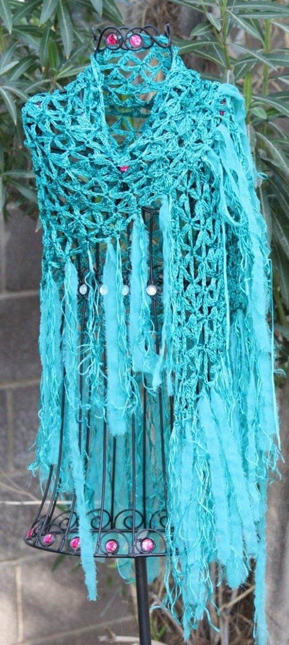 Cecilia de bucourt open crochet shawl with fringe of chiffon brilliant