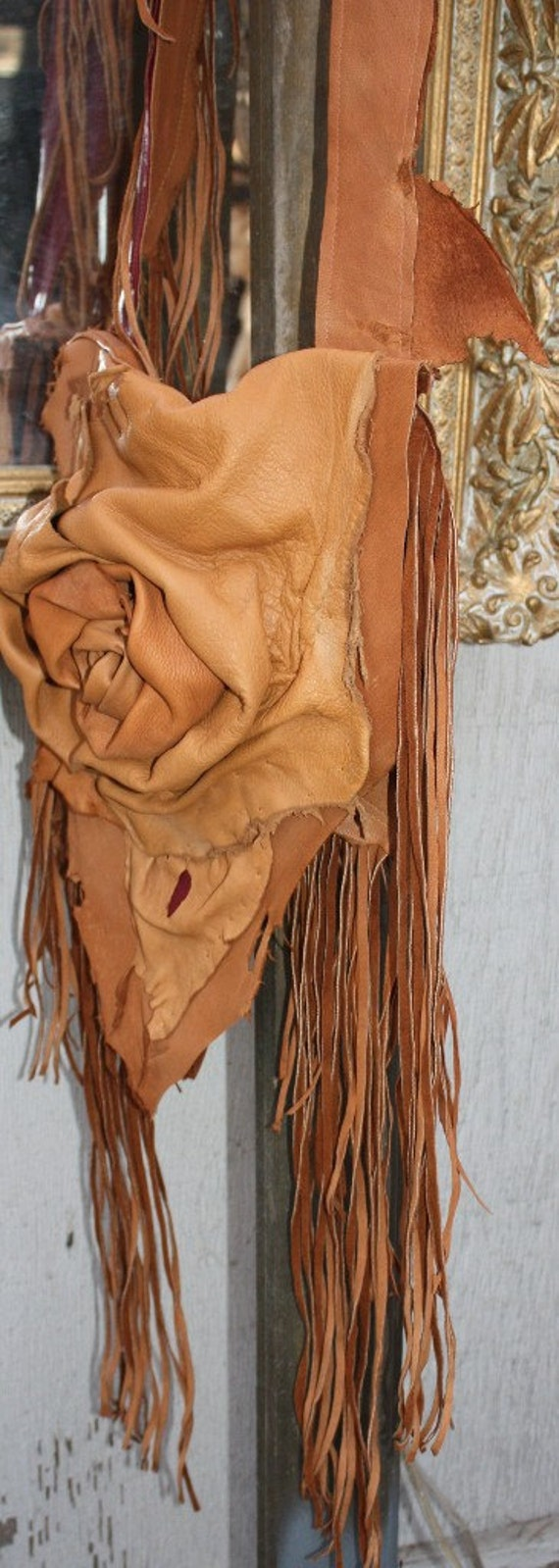 showdiva designs Asymmetrical brown Leather Bag Purse Necklace LoNg FriNgE n Hand Sculpted Flower