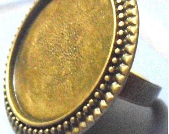 4pcs 32mm round blank tray bezel BRASS base Adjustable antique bronze ring Hr-49