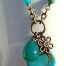 FREE SHIPPING Turquoise Necklace - Bali Necklace - Gemstone Necklace