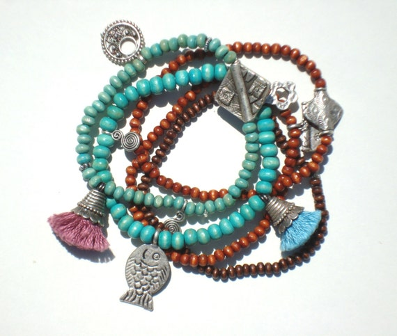 FREE SHIPPING Turquoise Brown Wooden Bead Bracelet Set with Pink Blue Tassel