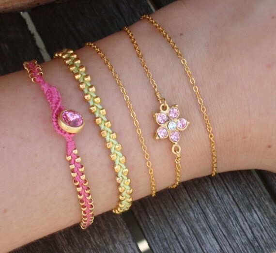 FREE SHIPPING Pink Green Friendship Bracelet Set