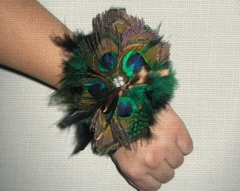 Peacock feather wrist corsage