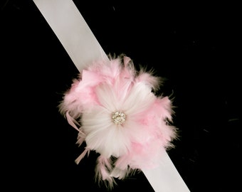 Pink & White feather wrist corsage
