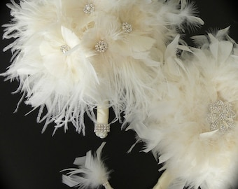 12 piece Feather Bridal Bouquet Package
