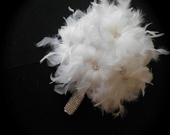 Winter Wonderland White feather Bridal Bouquet with Snowflake Crystal Center Flowers
