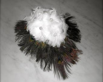 Tear drop Cascade Peacock Feather Bouquet