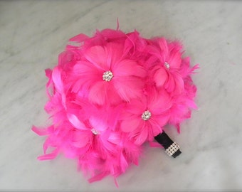 Hot Pink fuschia feather bridal/bridesmaid bouquet