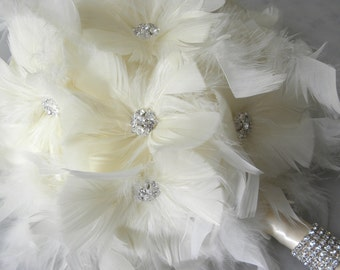 12  piece Peacock Feather Bridal Bouquet Package