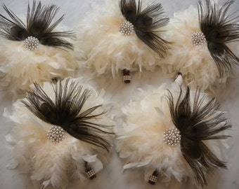 12  piece Brown Peacock & Ostrich Feather Bridal Bouquet Package