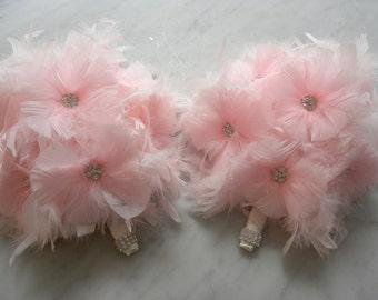 10 piece Pink  feather bridal/bridesmaid bouquet