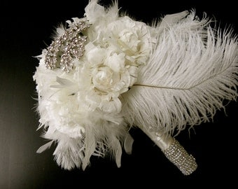 12 piece Vintage inspired ivory feather rose,ostrich & crystal brooch bouquet