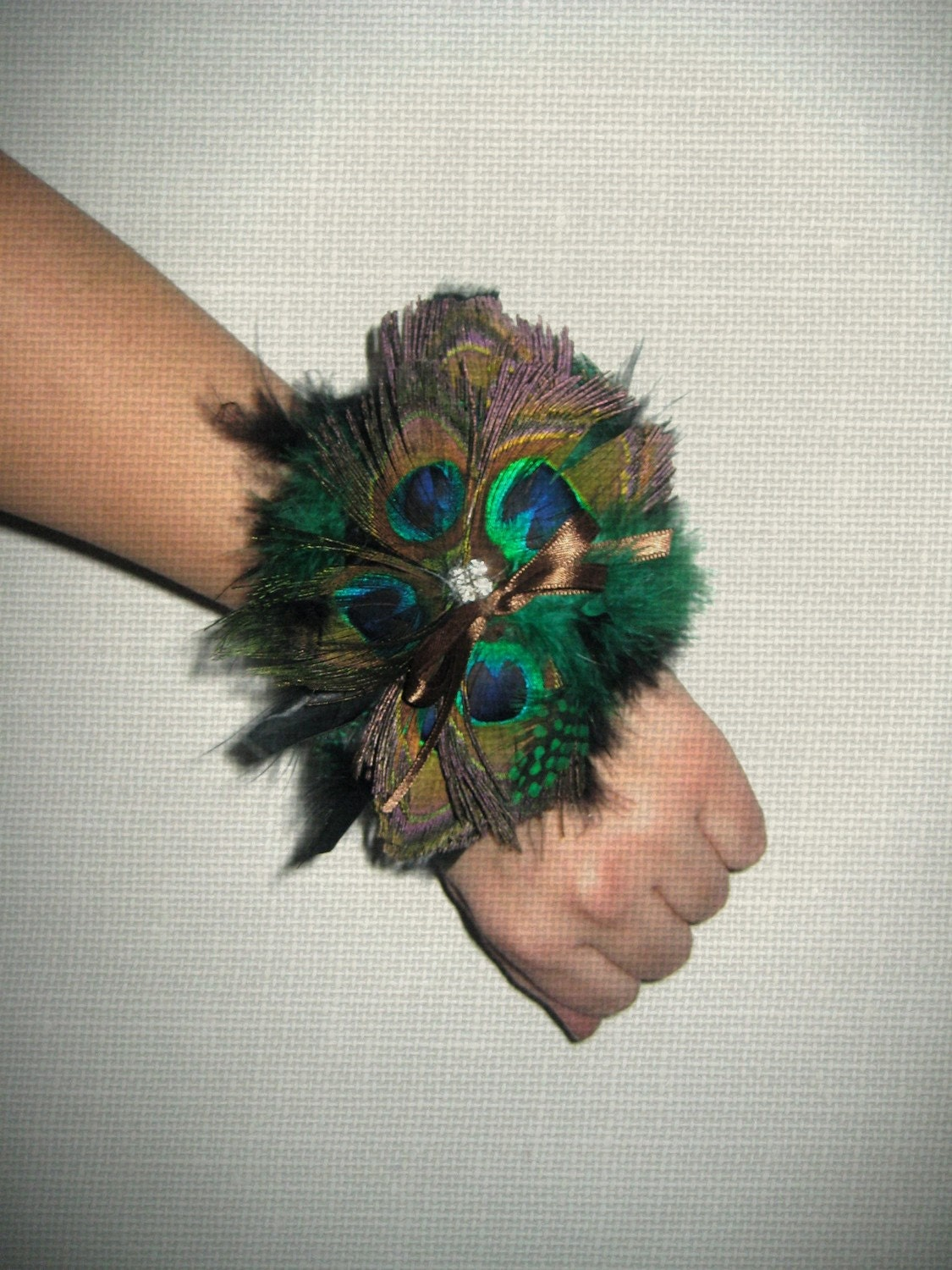 Peacock feather wrist corsage - Beautiful peacock feather ...
