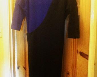 Sale! Vintage 80s Blue and Black Colour Block wool dress