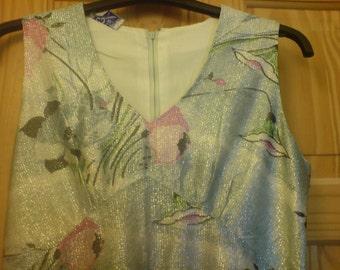 Sale Vintage 60s Floral Metallic Mini Mod Twiggy Dress Sale