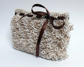 Loop crochet zippered wallet purse with ribbon bow