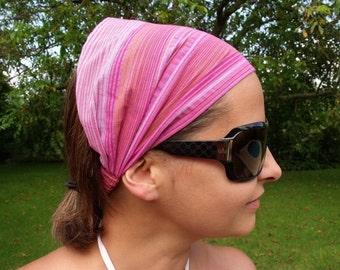 Pink Striped Flax Headband