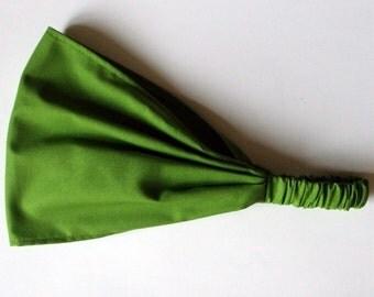 Yoga Headband - Solid Grass Green Kona Cotton fabric by Robert Kaufman.