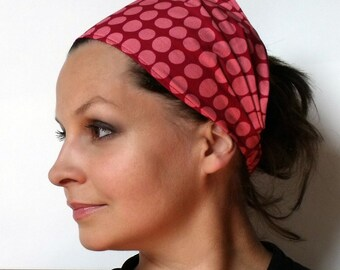 Yoga Headband - Amy Butler Sunspots in Wine fabric