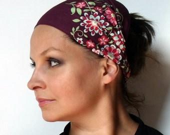 Yoga Headband Cotton Bandana - Amy Butler Memento in Burgundy fabric
