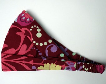 Yoga Headband - Amy Butler Paradise Garden in Wine fabric