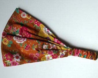 Japanese Cotton Gold Yellow Headband Japanese Kimono Print Fabric