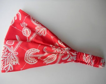 Yoga Headband Cotton Bandana - Amy Butler Lark Souvenir in Persimmon fabric