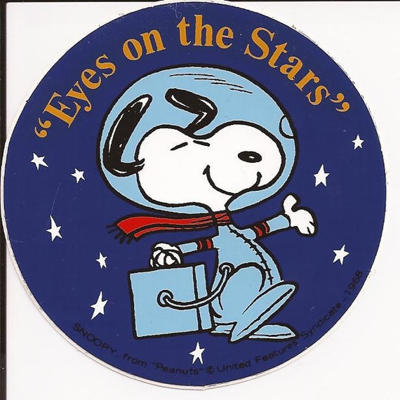 Vintage Snoopy 1968 Eyes on the Stars Astronaut Sticker