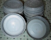 10 Vintage Zinc Jar Rims with Milk Glass Fits Mason Jar Lid Lot