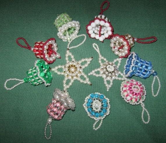 Vintage handmade beaded bells stars christmas ornaments