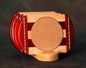 Padauk Wood Coaster w\/Cork