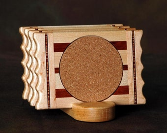 Maple Ridge Wood Coaster w\/Cork