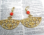Vintage tangerine glass Floral Filigree Gold Fan Earrings
