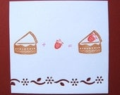 Reserved for Q - Set of a strawberry and a piece of cake - hand carved rubber stamps