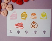 Reserved for Q - Set of 6 mini dessert / pudding - hand carved rubber stamps