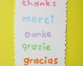 Set of 5 - thanks / merci / danke / grazie / gracias - hand carved rubber stamps