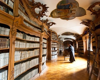Monastic 01 ||| Prague Photography | Travel Photography | Beautiful Library | Vintage Books | Cinematic Wall Art | History in Books