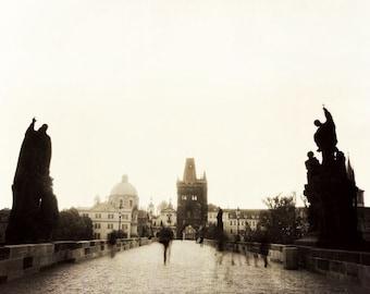 Ghosts of Prague ||| Travel Photography | Prague Wall Art | Charles Bridge at Sunrise | Mystery | European Wall Decor
