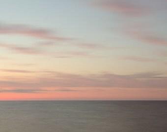 Superior Skies ||| Tranquil Bedroom Wall Art | Lake Superior Sunset | Minimalist Art | Seascape Art | Beach Photography | Minimal Pink Art