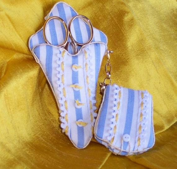 Blue & White Regency Scissors  and Needle  Chatelaine