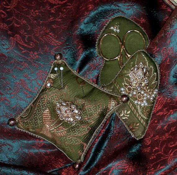 Green Sari Silk Scissors Case and Pincushion with Indian Jewelry Embellishments