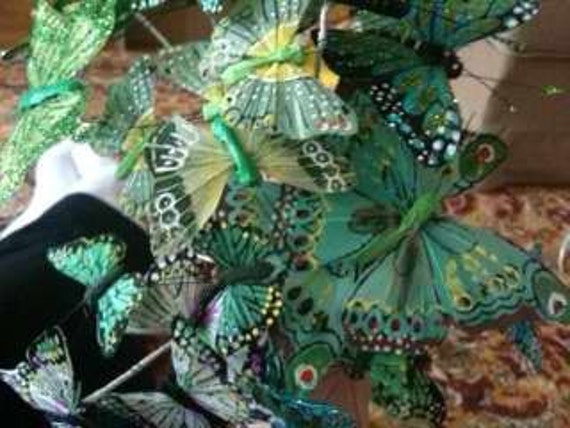 Green Feather Butterfly Stems