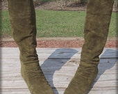 Olive Green Suede Slouch Boots 6.5